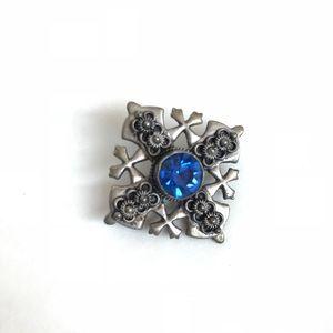 Antique Silver 900 Pendant / Brooch w Blue Stone